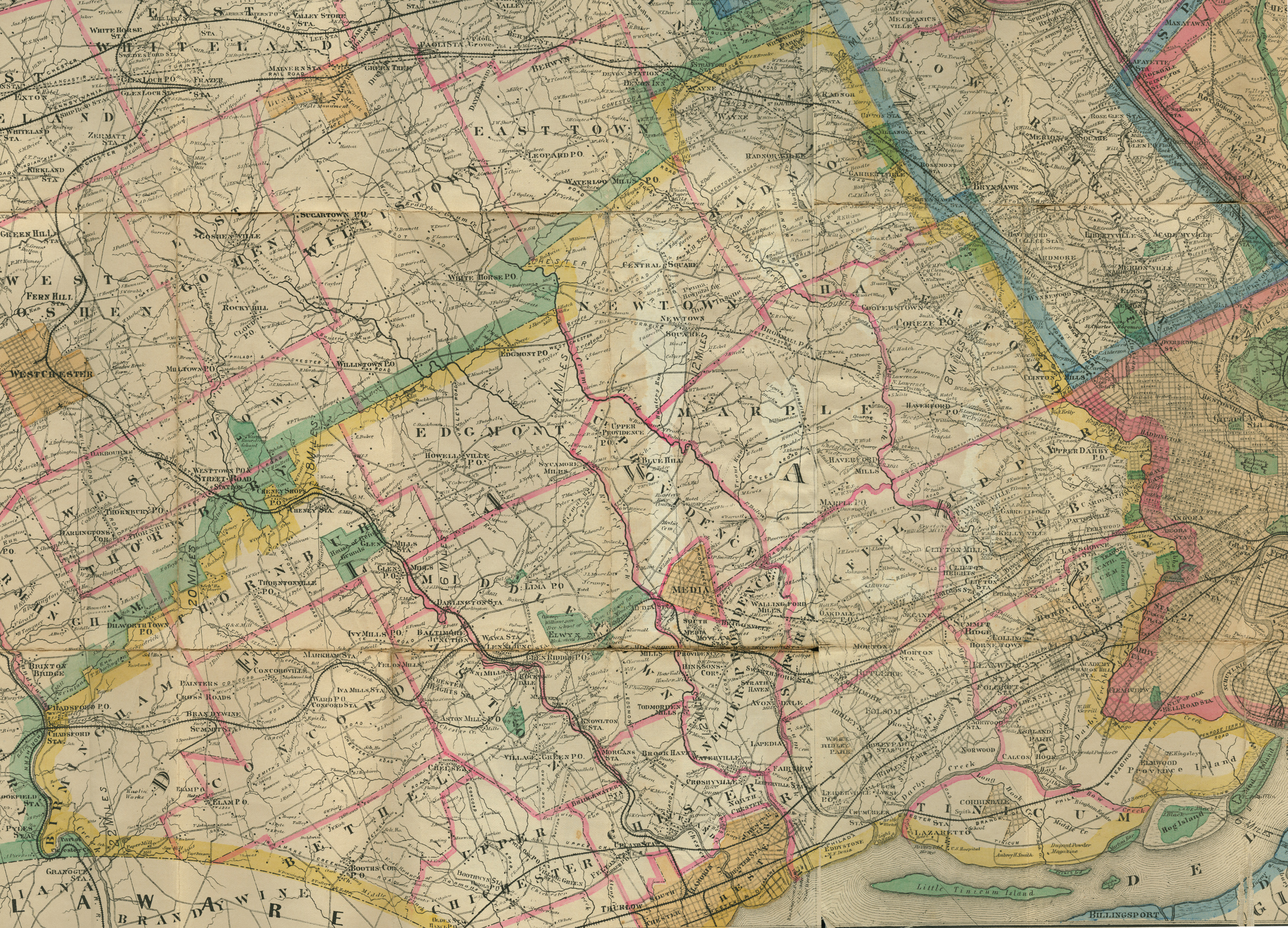 Driving Map Of Delaware County And Vicinity C 1900