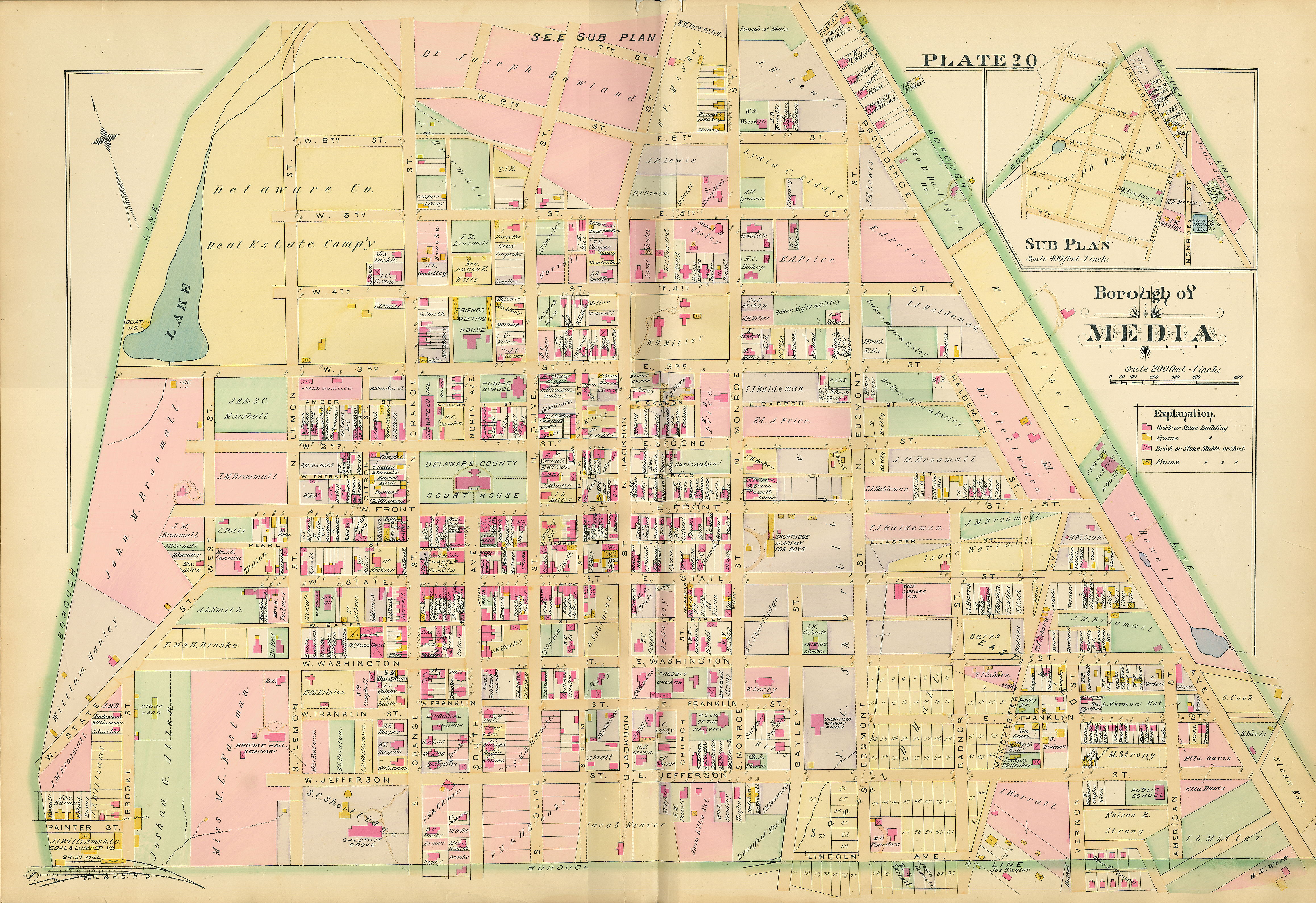 Welcome To Delaware County PA History - 1889 us railroad map